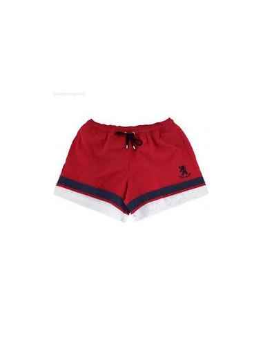 Bermuda costume con elastico e logo a contrasto NICKEL & DIME Rosso