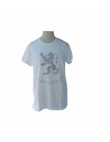 T- shirt girocollo mezze maniche con logo a contrasto sul davanti NICKEL & DIME Latte