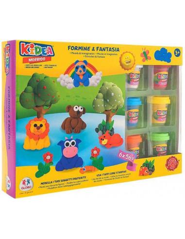 KIDEA- Globo - Morbido 6 x 56 g Play W/Acc (40335), Multicolore