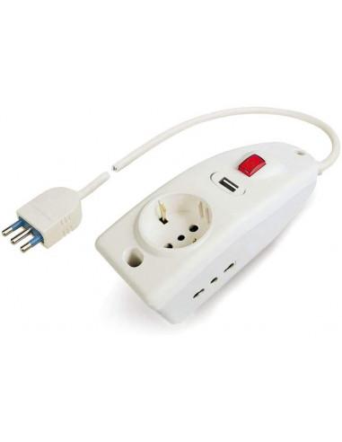 Poly Pool PP0539 Multipla Compact con 3 Prese e 1 Presa USB, 1.5 m Cavo e Interruttore, Bianco