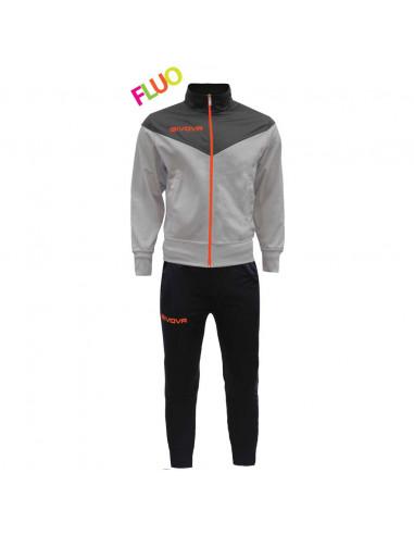 Completo Tuta New Venezia Fluo GIVOVA Uomo Donna Bambino Unisex Sportiva Sport Relax TRF030, 1028 Nero-Arancio Fluo