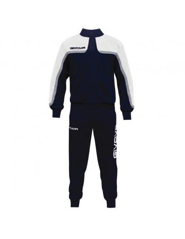 Tuta Givova Oceania Suit Uomo Donna Bambino Unisex Zip Running Sport Ginnastica TT007, 0403 Blu-Bianco