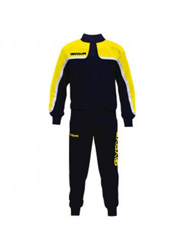 Tuta Givova Oceania Suit Uomo Donna Bambino Unisex Zip Running Sport Ginnastica TT007, 0407 Blu-Giallo