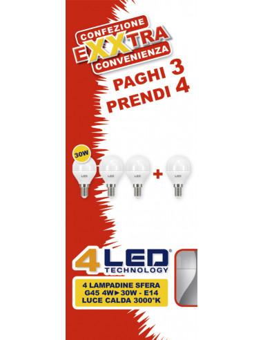 4 LAMPADINE SFERA G45 4W - 30W - E14 LUCE CALDA 3000° K