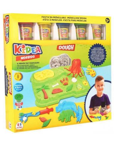 KIDEA- Globo, Morbido Dinosauro 5X85Gr Vasetti con Acc. Il Mondo Pasta da Modellare, Multicolore, C.T. 03157