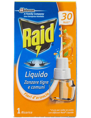 Raid Ricarica LIQUIDA per ZANZARE Tigre E Comuni con Aroma di Fiori D'ARANCIO 30 Notti