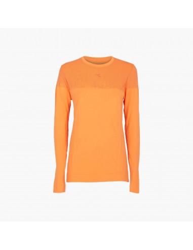 Diadora Maglietta Tecnica da corsa da Donna LS Techfit Arancione Chiaro