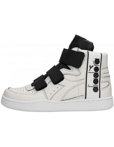 Diadora Sneakers Alte Mi Basket Tape Bianco E Nero Gambale: 9.5 cm