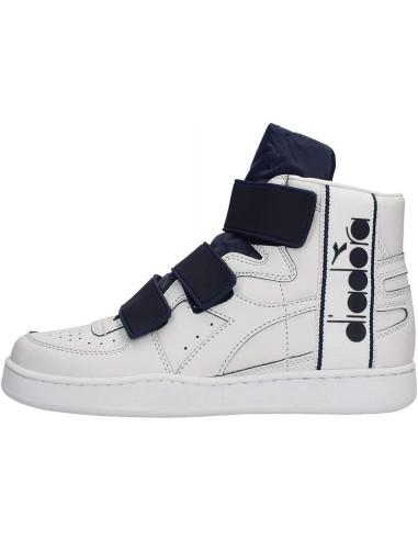 Diadora Sneakers Alte Mi Basket Tape Bianco E Blu Notte Gambale: 9.5 cm