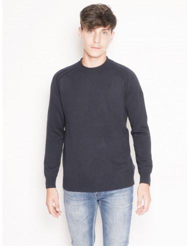 Maglia Girocollo Knit Cotton Plain Round Blu TG 54